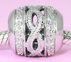 SOLID Sterling Silver Rope BEAD with 12 Sparkling CZ For Charm Bracelet