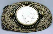Gold Color Oval Western REAL 1922 Peace Silver Dollar Belt Buckle epbb65