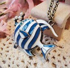 collar cadena larga bronce colgante animal pez rayas blanco azul strass perla