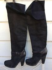 RACHEL Rachel Roy Enkala black oiled suede over the knee pull on boots studs 10