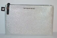 VICTORIA'S SECRET METALLIC WHITE CLUTCH MAKEUP COSMETIC BEAUTY BAG POUCH CASE