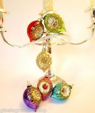 Christmas glass dimpled baubles SET of 6 rich jewel colours vintage style boxed