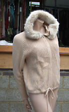 French Connection S Lovely Knitted Beige Zip-Up Top Jumper with Faux Fur Hoodie