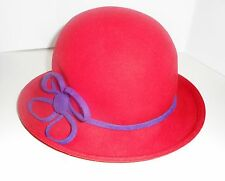 Handmade by Scala Wool Hat Red Hat Society Ladies One Size 100% Wool One Size