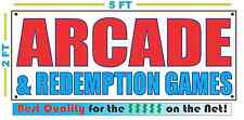 ARCADE & REDEMPTION GAMES Banner Sign NEW Larger Size Best Quality for The $$$$