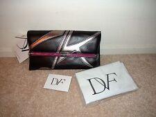 Diane Von Furstenberg DVF 440 Envelope Clutch Bag Purse Black Silver Leather NWT