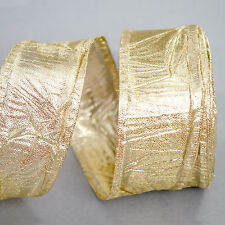 40 mm Yard Wired Silky Crush Shiny Gold Crinkle Wrinkle Ribbon Christmas Festive