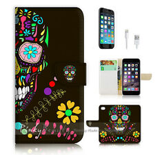 iPhone 7 PLUS (5.5') Flip Wallet Case Cover P0760 Sugar Skull