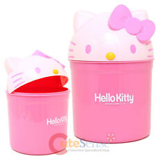 Sanrio Hello Kitty Face Top Trash Can Bin Pink Plastic Basket  Licensed