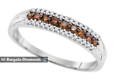 cocoa cognac brown diamond 10k gold bridal ring .20 carats anniversary love band