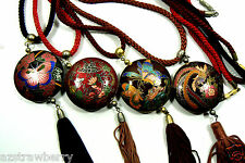 Lot of 4 Gold Tone MEtal Cloisonne Enamel Butterfly Bird Round Pendant Necklace