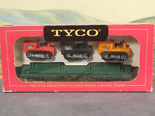 HO 1:87 Old Tyco Red Box No. 351A 40' Skid Flat Car w/Tractors WESTERN MARYLAND