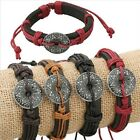 Adjustable Leather Viking Rune Norse Shield Bracelet/Wrist band/Arm band/19cm