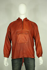 Vintage leather jacket M 70's handmade hooded pullover east west hippie