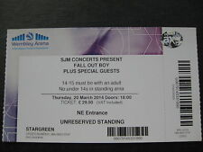 FALL OUT BOY  LONDON  20/03/2014 TICKET