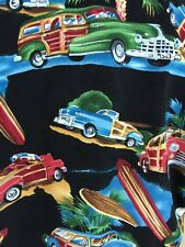 Monticerutti Hawaiian Aloha Shirt Woody Surfboard Palm Tree Surf Cars Beach LG