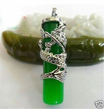Pretty Imperial Inlay Natural Green Jade Dragon 18KGP Pendant