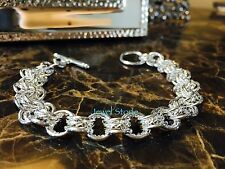 "NEW 925 Sterling Silver Chain Link Bracelet Bangle Cuff 8"" Dress Toggle Charm"