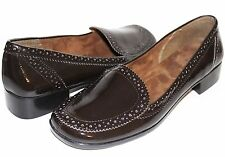 ✿ AEROSOLES Sunrise Perforated Brown Patent Comfort Loafers 10 M NEW! L@@K!D2