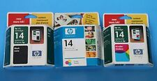 Lot of 3 Genuine HP 14 Ink NIB: 1 black, 2 Tri-color (all expired 2005) CHEAP!!!
