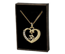 Heart OM / AUM Necklace -  Gold Plated | Diwali Yoga Meditation Gymnasium Gifts