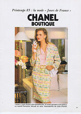 PUBLICITE ADVERTISING 064 1983 CHANEL boutique tailleur