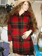 White Bear of St Paul USA womans coat jacket red green plaid wool M/L short appr