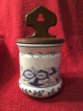Vintage Wall Hanging Salt Box Wood and Porcelain White Blue Onion Danube