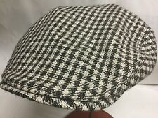 BORSALINO ITALY ITALIAN NEWSBOY 61-62cm Checkered Beige Black IVY DRIVING CAP