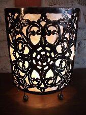 Lampe Metall Stoff Beleuchtung Wohnzimmer Dekoration Unikat  Indonesien Bali