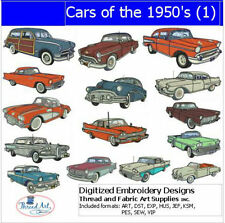 Embroidery Design CD - Cars of the 50's(1) - 15 Designs - 9 Formats - Threadart