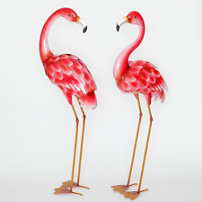 Bits and Pieces - Set of Two (2) Metal Flamingo Garden Statues - Durable Outdoor