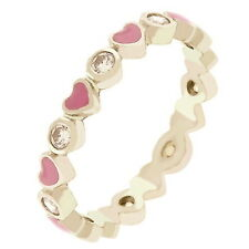 Silver Plated Pink Hearts Eternity Ring Band Cubic Zirconia Stackable Size 9 USA