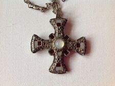 Vintage Miracle Pendant necklace, Scottish Celtic cross, glass agates, signed
