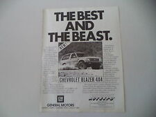 advertising Pubblicità 1983 CHEVROLET BLAZER 4X4