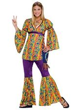 Purple Haze Hippie 60's 70's Halloween Costume Adult Women's One Size to 14 - 16