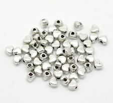 100 Silver Hearts 4mm Spacer Beads For Jewellery Making BUY 3 FOR 2