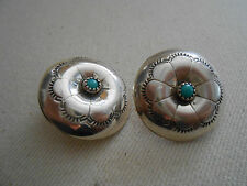 Southwest Sterling Silver Turquoise Button Earrings    350711