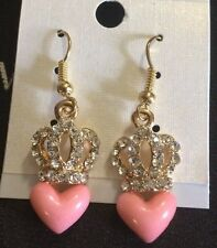 Beautiful Golden Crystal Crown Pink Heart Earrings