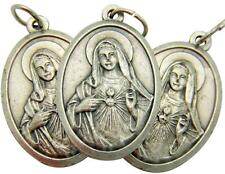 "MRT 3 Lot Immaculate Heart Catholic Mary Madonna Medal Silver Plate 3/4"" Italy"