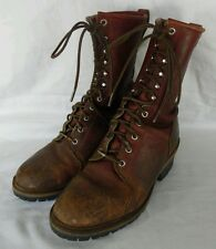 F.H. HALL LINEMAN DISTRESSED LACE UP BROWN  LOGGER BOOTS 10D