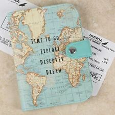 Sass and Belle Vintage Map Print 'Time To Go Explore' Passport Cover Travel