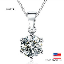 925 Sterling Silver Austrian Crystal Solitaire Pendant Chain Necklace USA
