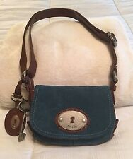 Fossil Maddox Teal Blue Green Suede Small Flap Crossbody Messenger Purse Bag