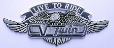 LIVE TO RIDE EAGLE EMROIDERED 5 INCH IRON ON MC BIKER PATCH