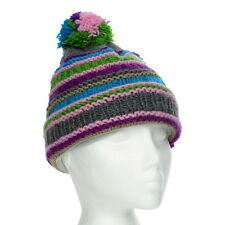 Funky Hand Knit Winter Woollen Beanie Brighton Bobble Hat, One Size, UNISEX BB4
