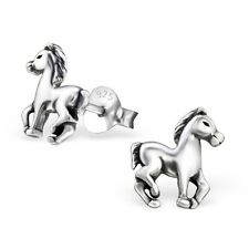 Sterling Silver 925 Cute Horse Stud Earrings