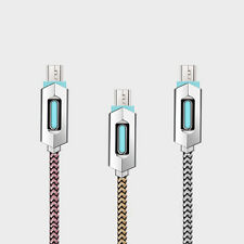 Nylon Braided Luminous Micro USB Fast Data Sync Charger Charging Cable Cord Lot