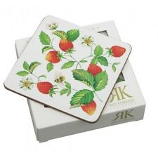 Roy Kirkham Alpine Strawberry Cork Backed Coasters Drinks Mats Set of 6 Boxed