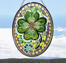 "AMIA Glass ""Emerald Isle"" Clover Oval Suncatcher - Hand Painted  -  NEW"